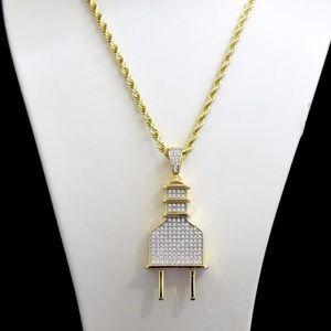 Other - 14k Gold Finish Lab Diamond PLUG Charm Chain